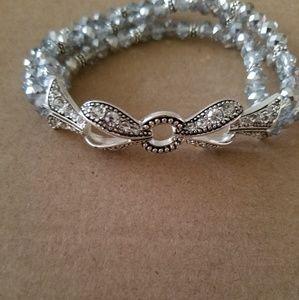 Silver and crystal stretch bracket